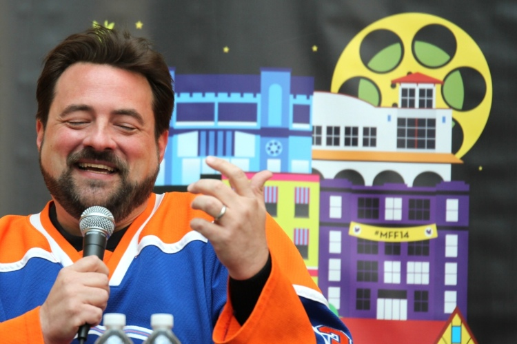 Kevin Smith speaking in front of Montclair audience. MFF14