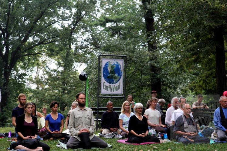 Earth Vigil: Meditators Near Columbus Circle