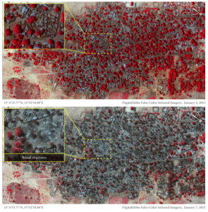 """Before (2 January 2015) and after (7 January 2015) satellite imagery shows the extent of damage in Doro Gowon following the Boko Haram attack."" Amnesty International"