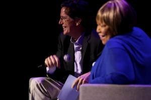 Mavis Staple and Stephen Colbert sharing a laugh at the Montclair Film Festival. Photo by Kimberly Cecchini/Montclair Film Festival