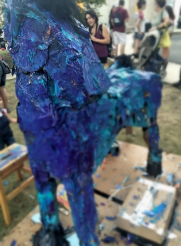 A kid-painted blue horse in at the Montclair Art Museum for the Eric Carle exhibition.
